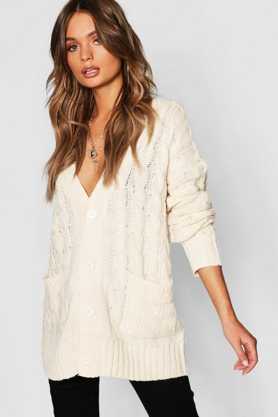 Womens Cream Cable Pocket Cardigan