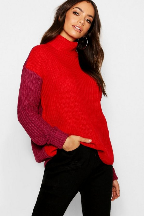 Berry Colour Block Roll Neck Jumper