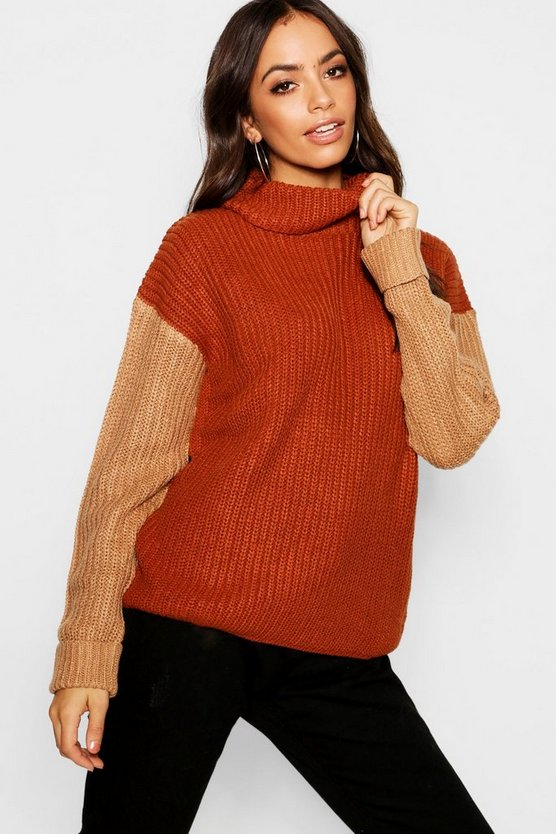 Colour Block Roll Neck Jumper