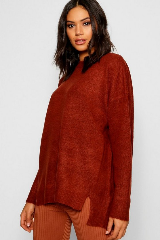 Womens Terracotta Split Front Drop Shoulder Sweater