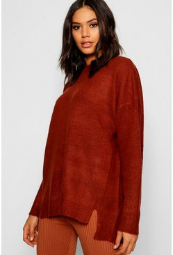 Womens Terracotta Split Front Drop Shoulder Jumper