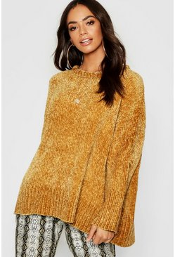 Womens Mustard Oversized Chenille Sweater