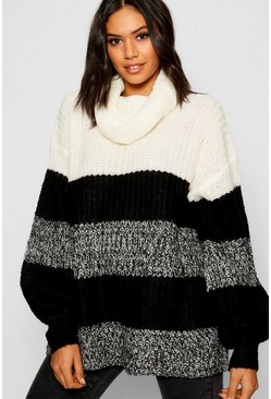 Ecru Cowl Neck Fisherman Sweater