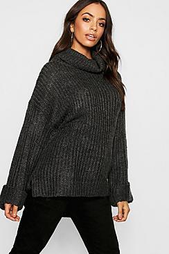 Rib Knit Wide Cuff Roll Neck Sweater