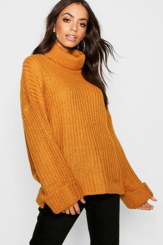 Womens Gold Rib Knit Wide Cuff Roll Neck Jumper