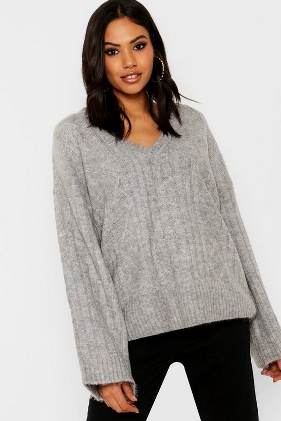 V Neck Cable Knit Jumper