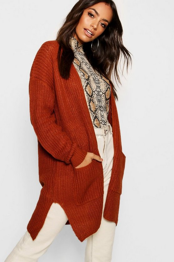 Fisherman Knit Pocket Cardigan