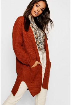 Womens Spice Fisherman Knit Pocket Cardigan