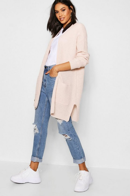 Soft pink Rib Knit Pocket Cardigan