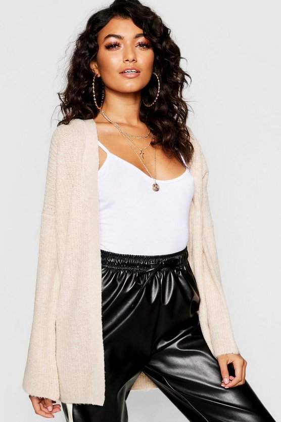 Fisherman Knit Flare Sleeve Cardigan by Boohoo