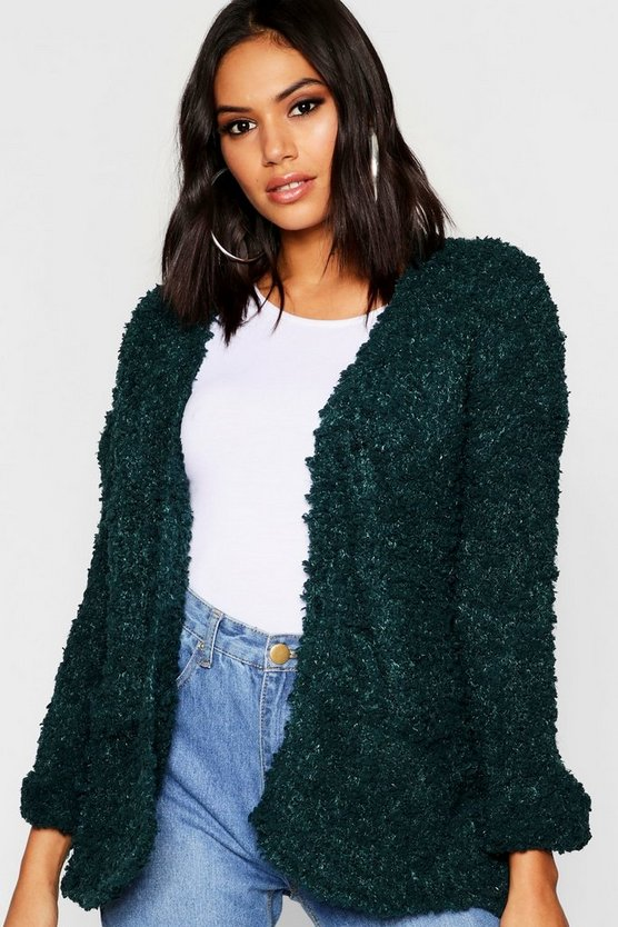 Womens Green Edge To Edge Pocket Cardigan
