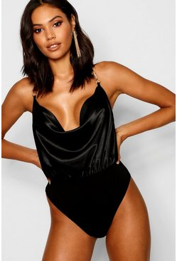 Womens Black Satin Cowl Bodysuit