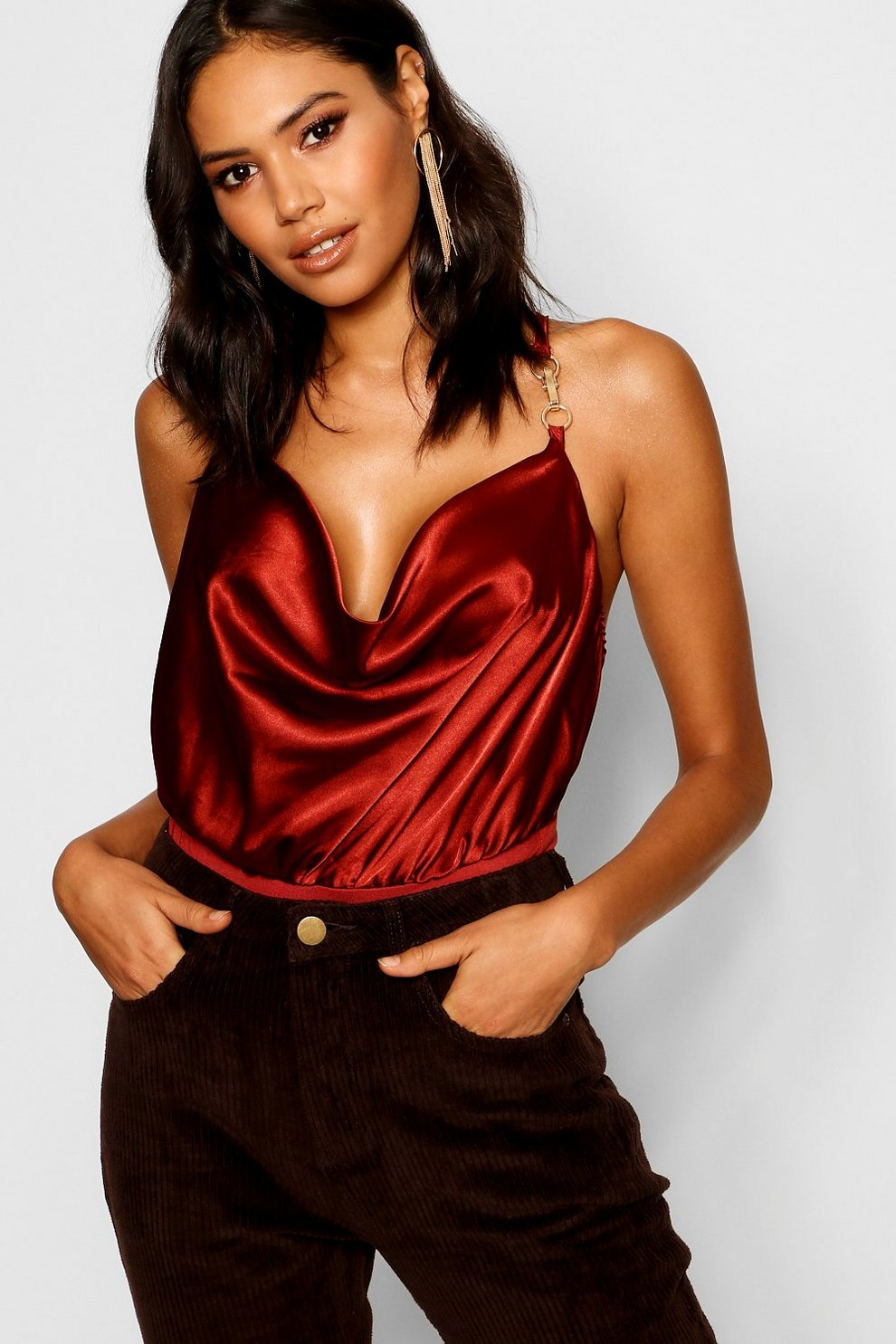 Satin Cowl Bodysuit Satin Cowl Bodysuit by Boohoo