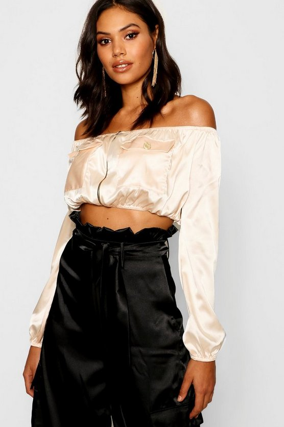 Womens Satin Pocket Utility Crop Top