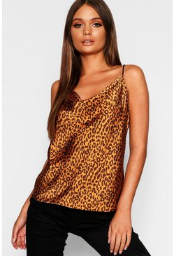Womens Rust Leopard Print Square Neck Satin Cami