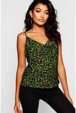 Womens Green Leopard Print Cowl Neck Woven Cami