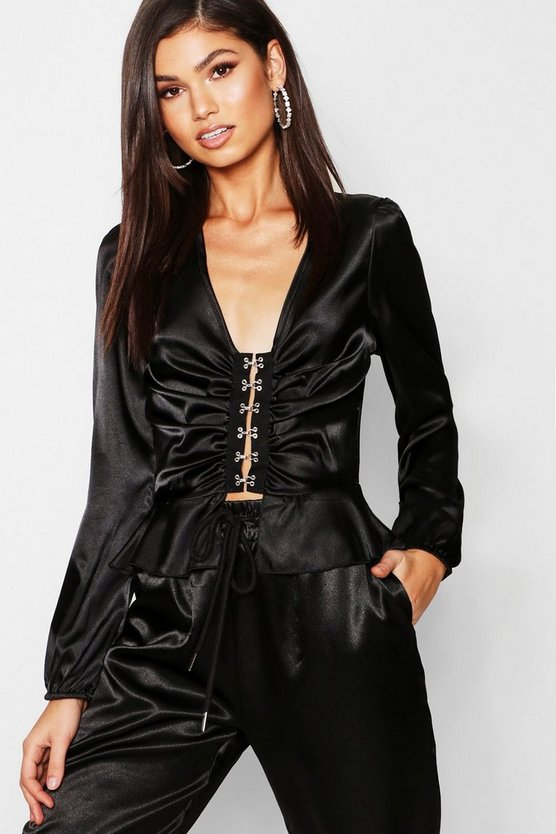 Satin Hook and Eye Frill Blouse