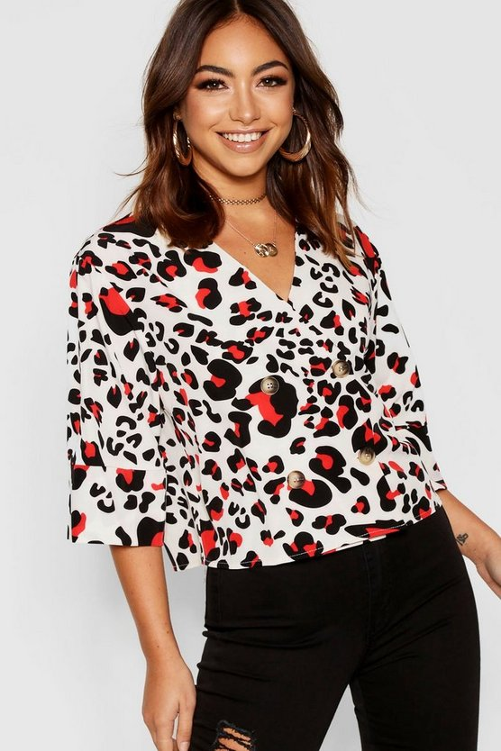 Leopard Button Detail Blouse