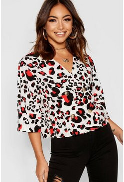 Womens White Leopard Button Detail Blouse
