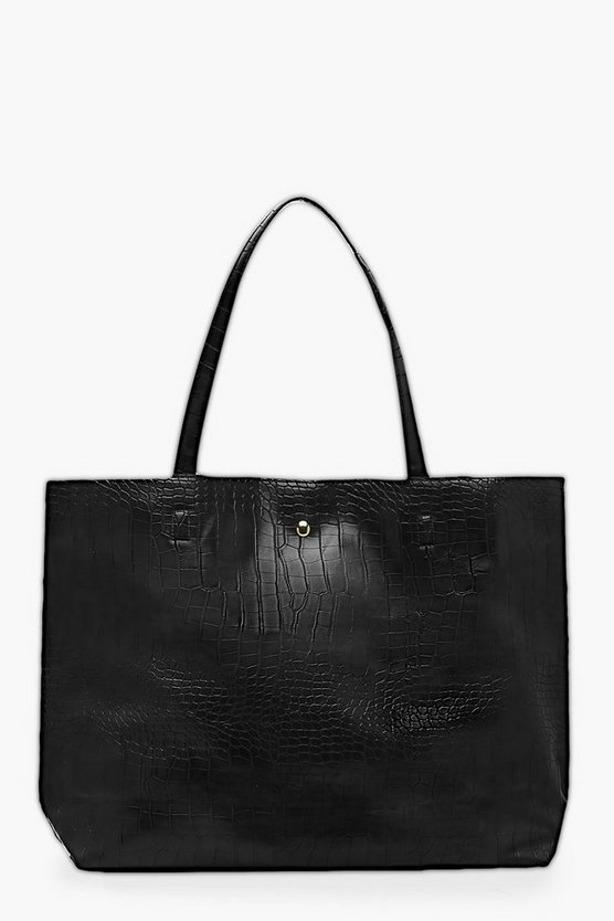 Womens Black Croc Day Bag