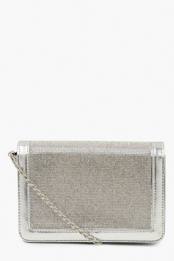 All Over Diamante Structured Cross Body