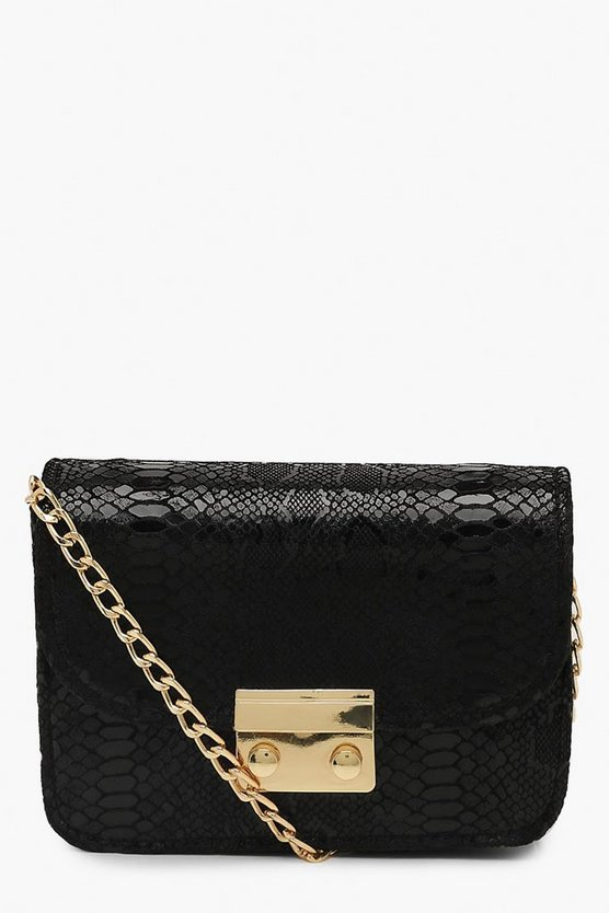 Womens Black Metallic Snake Structured Cross Body