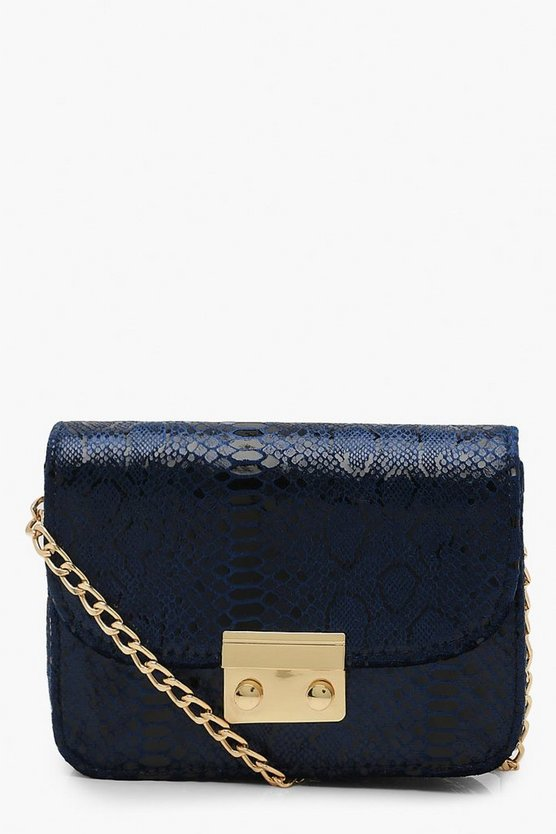 Metallic Snake Structured Cross Body