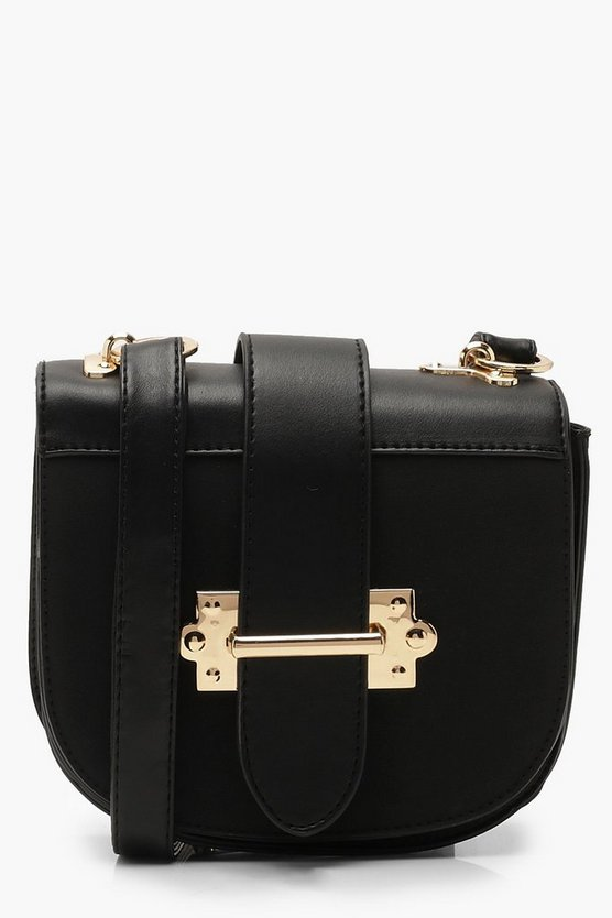 Metal Bar Detail Saddle Cross Body Bag