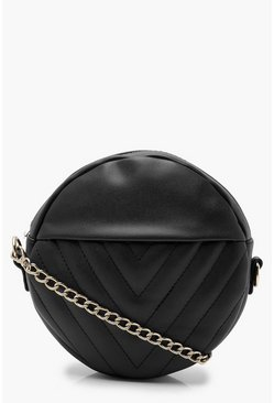 Womens Chevron Quilted Structured Round Bag