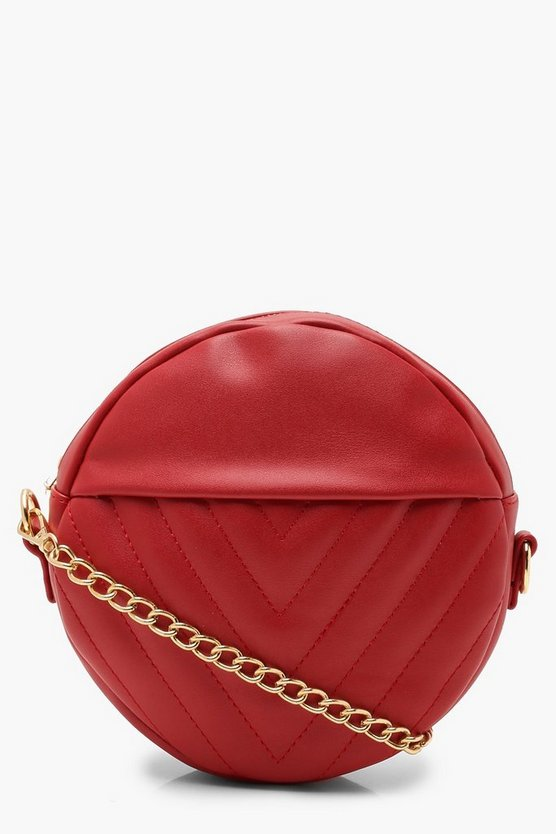 Chevron Quilted Structured Round Bag