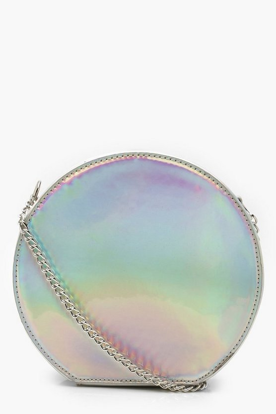 Silver Holographic Structured Round Bag