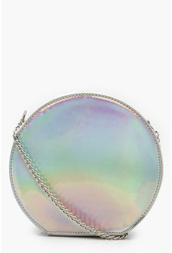 Womens Silver Holographic Structured Round Bag