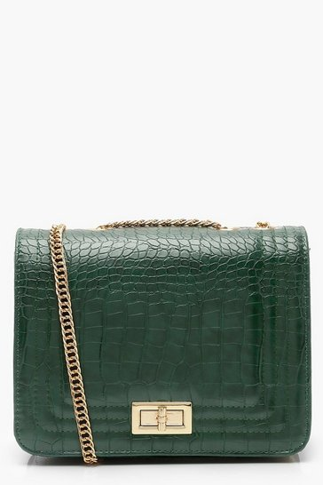 Womens Green Croc Cross Body Bag