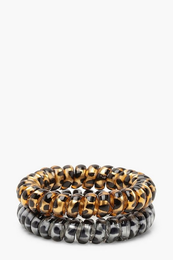 Womens Multi Leopard Elastic Coil Hair Bands