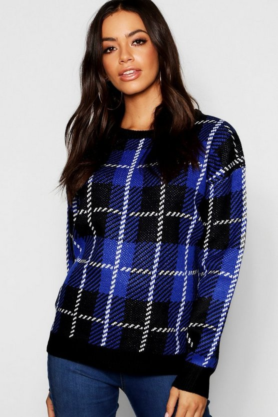 Womens Black Check Jacquard Sweater
