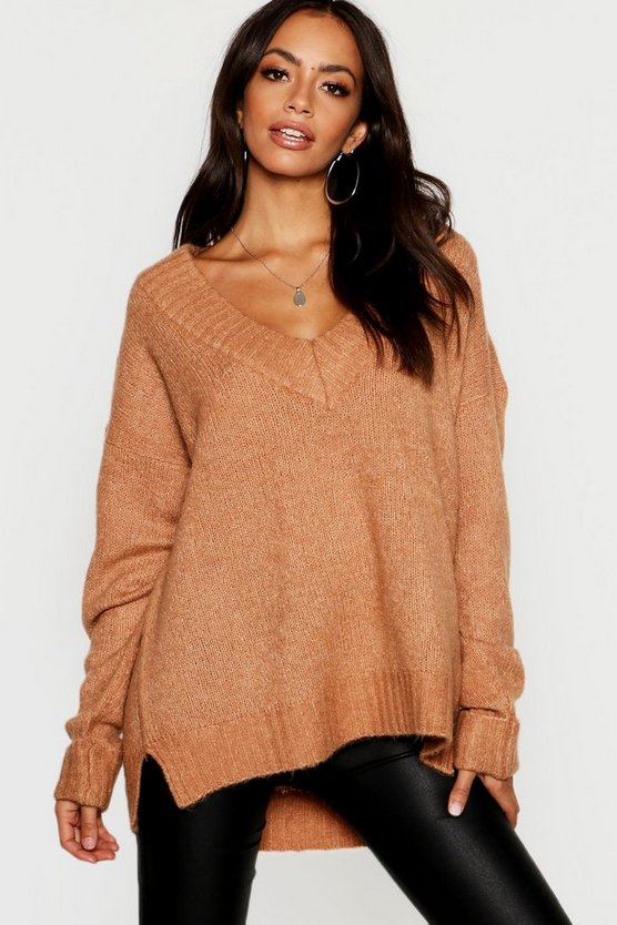 Womens Camel V Neck Jumper With Ribbed Trim Cuff