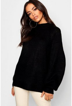 Womens Black Loose Fit Jumper With Cable