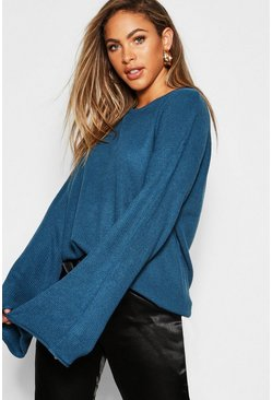 Womens Jade Fisherman Knit Loose Fit Jumper With Flared Sleeve