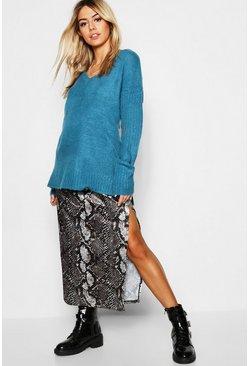 Womens Teal V-Neck Drop Shoulder Slouch Jumper