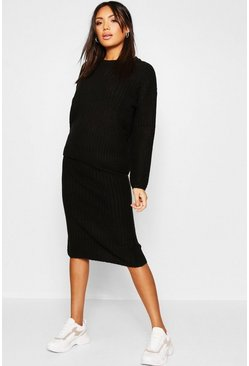 Womens 2 Piece Knitted Set With Midi Length Skirt And Rib Sweater