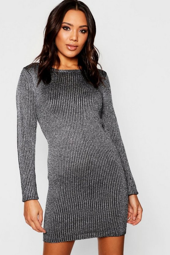 Black Chunky Cable Knit Dress With Cowl Neck