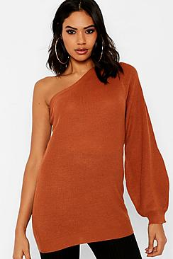 Exposed Shoulder Balloon Sleeve Sweater