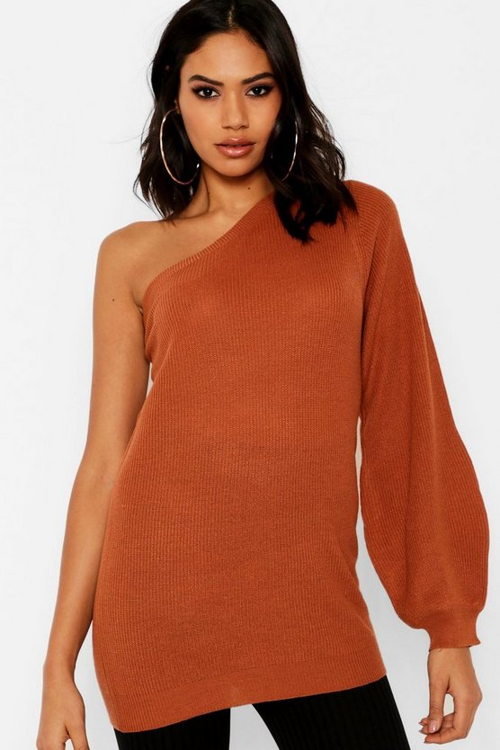 Exposed Shoulder Balloon Sleeve Jumper