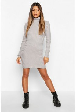 Grey Longline Rib Knit Roll Neck Tunic