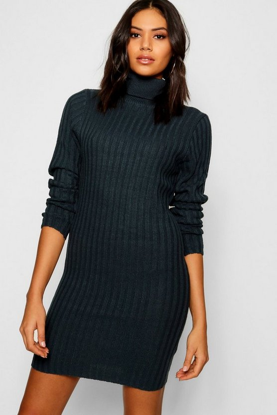 Longline Rib Knit Roll Neck Tunic