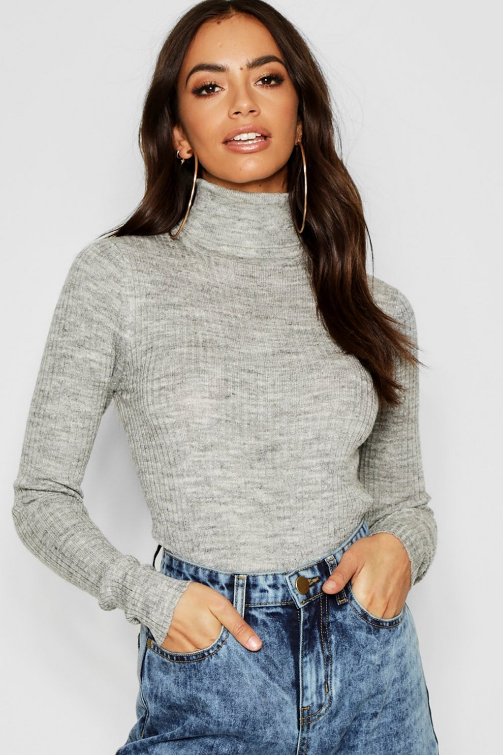 5bcb7877e0b0d Womens Silver Rib Knit Roll Neck Jumper
