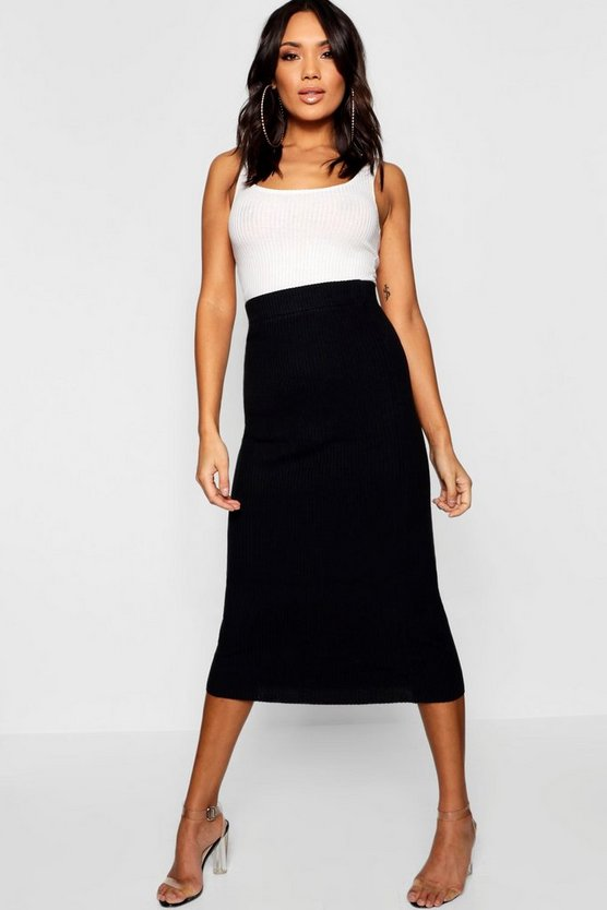 Womens Black Rib Knit Maxi Skirt