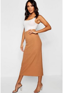 Womens Camel Rib Knit Maxi Skirt