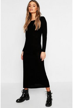 Womens Black Maxi Long Sleeve Dress