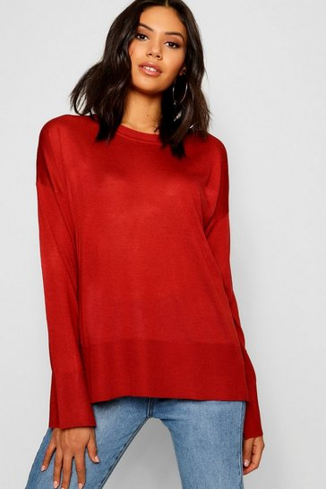 Womens Paprika Crew Neck Split Jumper